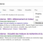 Les résultats personnalisés de la première page google