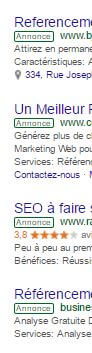 mention annonce Adwords