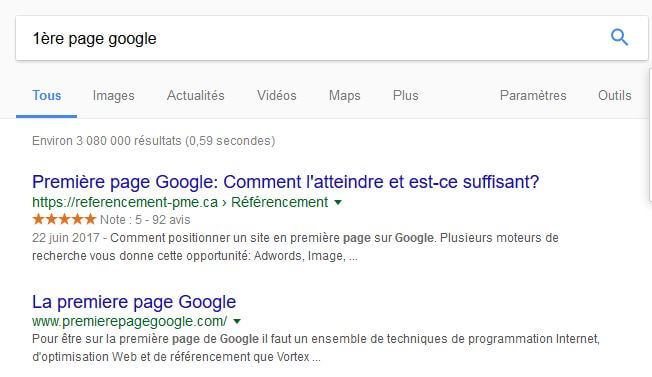 1ere page google
